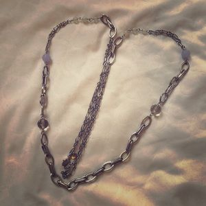 LOFT long silver chain necklace with blue beads
